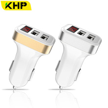 KHP Dual USB Car Charger For iPhone 6 6S 5 4 4S 5s 7 Plus 5V 2.1A Digital Display Car Adapter iPad Samsung Car Fast Charger