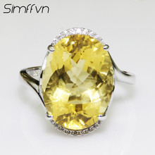 Simffvn 925 Sterling Silver 12x16mm Oval Natural Citrine For Women Engagement Rring Anniversary Gemstone Bridal Halo Ring