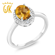 2017 silver ring 1.26 Ct Oval Checkerboard Yellow Citrine White Diamond 925 Sterling Silver Ring red jewelry grace fashion ring(China)