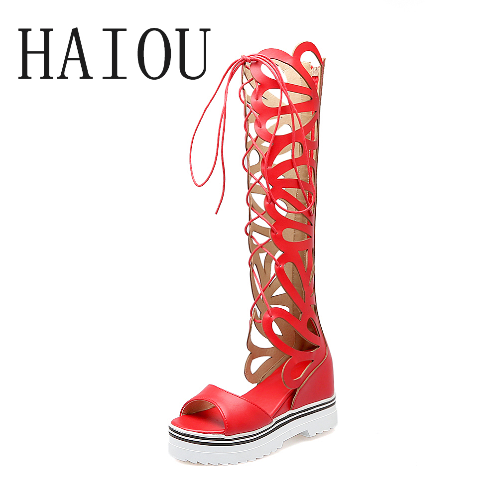 New 2017 Summer Hot Shoes Women Knee High Gladiator Sandals Sexy Open Toe Boot Sandal High Heel Platform Open Toe Lace Up Shoes<br>