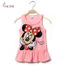 2017 1-5T Baby Girls Dresses Summer Children Girl Ruffles Sleeveless Cartoon Cotton Beach Casual Sundress Vestidos T360