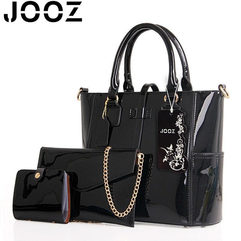 Jooz Luxury Women Leather Hand bags Famous Brand Women Handbag Chain Ladies Shoulder Bags 3 Pcs Composite Set Bag Black Blue Red<br>