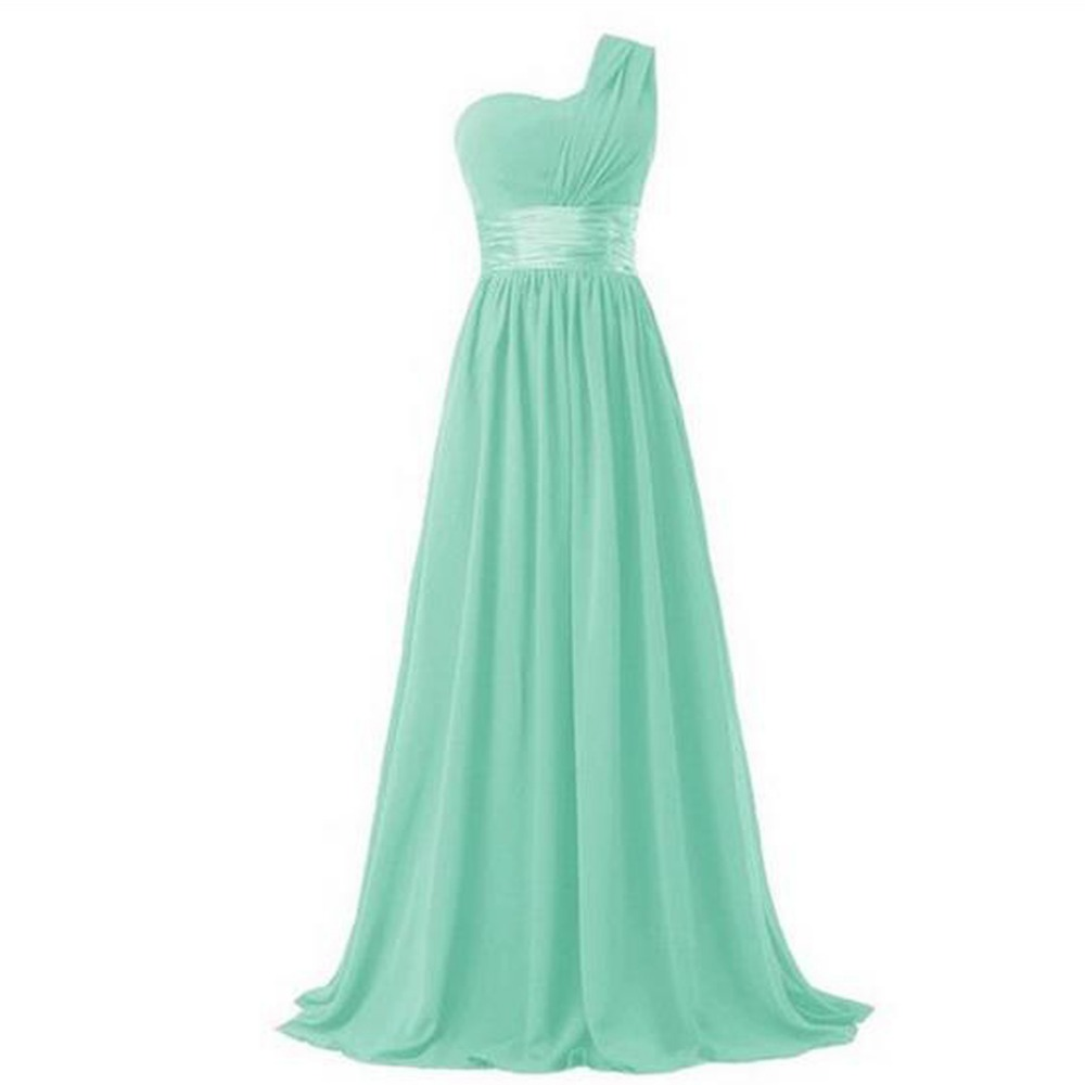 2017 long bridesmaid dress one shoulder a line chiffon for women elegant fashion style purple blue mint green pink red yellow 13