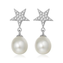 Hot 1 Pair Women Lady Girl Fashion Elegant New Crystal Rhinestones Natural Freshwater Pearl Star Earrings Jewelry Ear Stud(China)