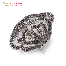 Buy Vintage flower ethnic rings women crystal rhinestone ancient silver trendy jewelry gifts LPK1904 for $1.79 in AliExpress store