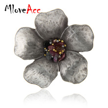 MloveAcc Antique Vintage Brooch Wholesale Multicolor Stone Flower Brooches Pins Scarf Clip Fashion Sweater Accessories for Women