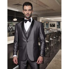 Shiny Gray Groomsmen Best Man Wedding Dinner Party Tuxedo 2017 Custom Black Satin Shawl Lapel Men Suit (Jacket+Pants+Tie+Vest)(China)