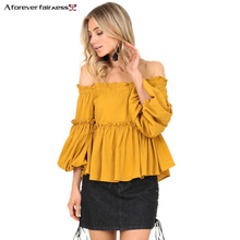 A Forever 2017 Spring Autumn Women Tops Blouse Sexy Slash Neck Puff Sleeves Shirt Ruffles Loose Yellow Women Blouse Shirt M-584(China)