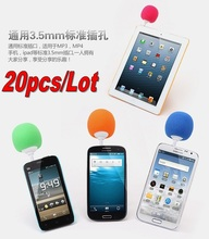 20pcs Bestselling Mini Sponge Ball Speaker Sound with Mic for iPhone iPod iPad S4 3.5mm Audio Jack Cell Phones Mini Speaker
