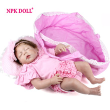 NPKDOLL New Fashion Full Body Silicone Reborns Dolls 22 Inch Sleeping Real Newborn Reborn Babies Toys For Girls Gift Brinquedos(China)
