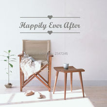 Love Quotes Vinyl Wall Decal Happily Ever After Art Mural for Living Room Bedroom Decoration