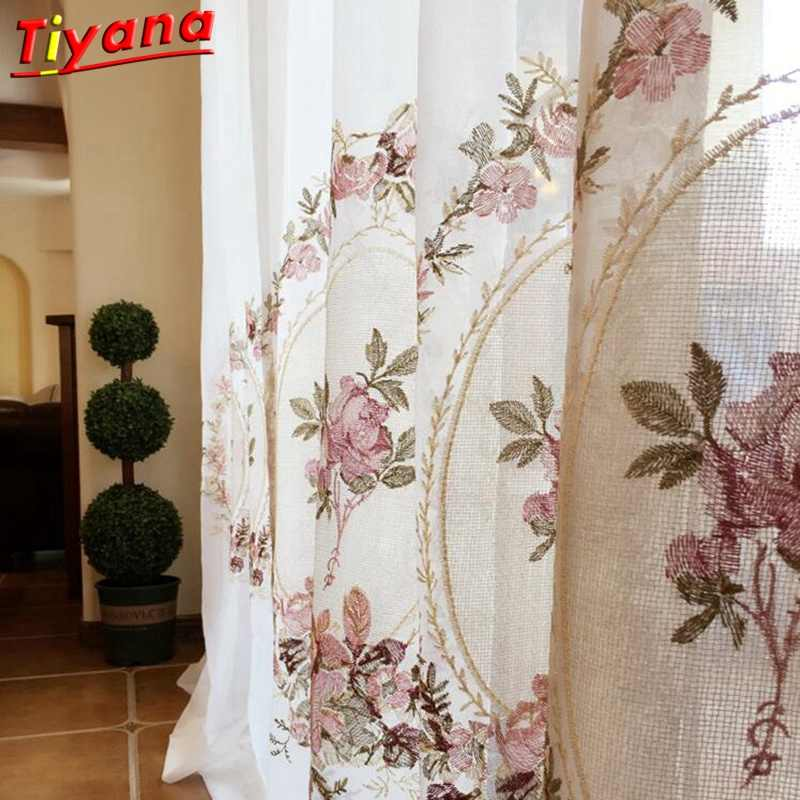 Sheer white Embroidered pink flower curtain elegant royal valance voile tulle for living room bedroom balcony door WP295 *30