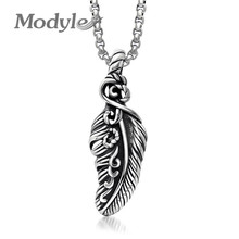 Modyle Retro Stainless Steel Angle Wing Pendant Necklace for Women