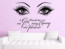 Beauty Eye Wall Decals Make Up Vinyl Stickers Beauty Salon Girl Eyes Quote Art Vinyl Bedroom Decoration adesivo NY-380