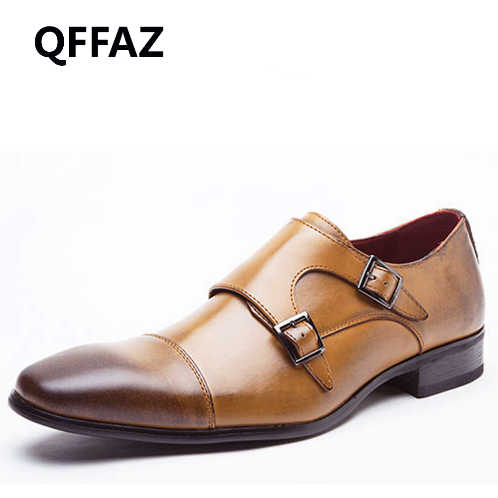 QFFAZ Men casual shoes luxury brand genuine leather formal dress double monk buckle straps wedding brogues shoes zapatos hombre<br>