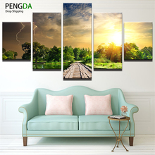 Canvas Wall Art Picture Landscape Canvas Painting 5 Pieces Sunshine Lightning Trees Park Natural Modern Living Room Decorative