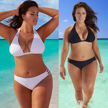 2016 Plus Size Bikini Set Low Waist Push Up Swimsuit Swimwear Large Size Bikini Tocas Feminina Bathing Suits Freeshipping