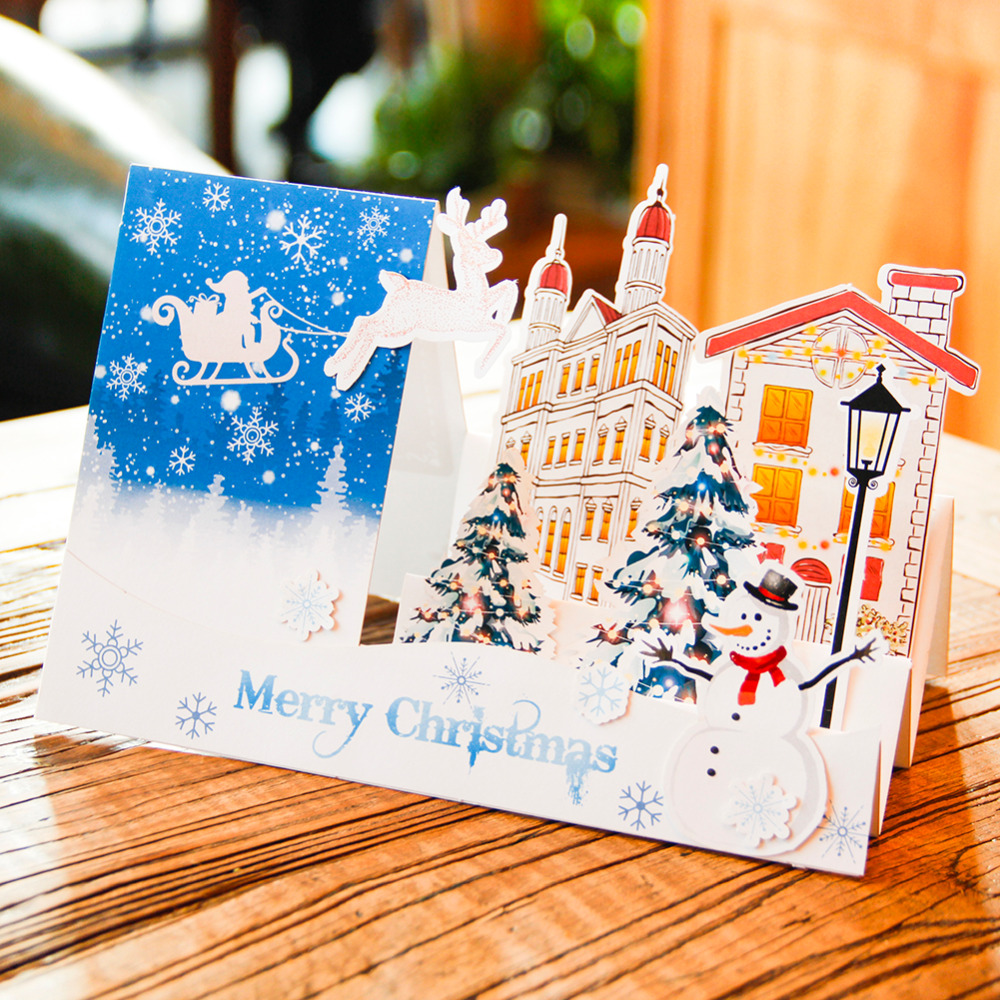 Wholesale Christmas Cards 3d Handmade Holiday Greeting Cards Laser
