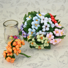 10pcs/lot Silk Cotton Artificial Flower Bouquet For Wedding Decoration DIY Scrapbooking Decorative Wreath Fake Flowers(China)