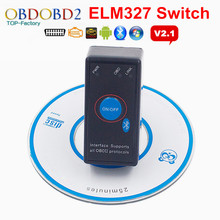 2016 Super Mini ELM327 Bluetooth V2.1 With On/Off Button Power Switch ELM 327 OBD2 Car Diagnostic Scanner For OBDII Protocols