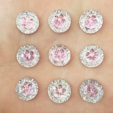 (30 pieces/lot) pink round Resin 12mm*12mm flower Flatback scrapbook Appliques/ DIY Crafts D434(China)