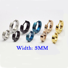New free shipping 5 Colors for choice 3mm width Male titanium Fashion cool ear buckle earring()
