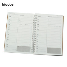 Kicute Retro Simple Spiral Notebook Daily Weekly Planner Book Time Management Planner School Supplies Stationery Gifts 48 Sheets(China)