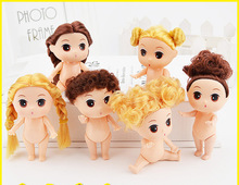 9cm Doll for Mini Ddung Dolls with Brown Bun Hair Baking Mold Dolls Girl Toys 3.5""