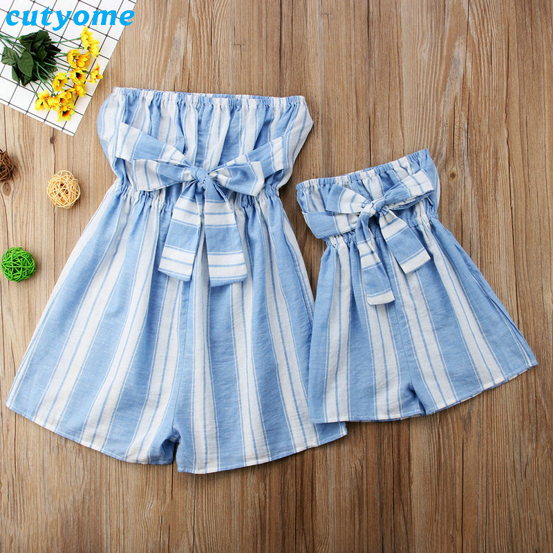 Mother Women And Daughter Girl Matching Clothes Striped Overalls Dress One-pieces Jumpsuits For Mommy And Me Family Outfits (7)