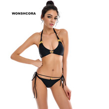 WONSHCORA New Low Waist Army Green Hanging Neck Swimwear Swimsuit Gold Ring Sexy Women Bikini Set Beach Swimming Trunks(China)