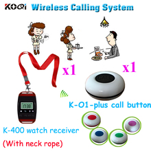 Wireless Pager System Durable Restaurant 433.92MHZ Watch With Neck Rope And Call Button (1pcs watch+1pcs caller)