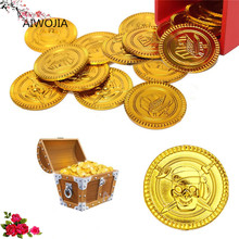 Plastic Pirate Treasure Gold Coins Party Props Christmas gift Children's toys Game Currency Halloween decor Party Supplies 7Z(China)