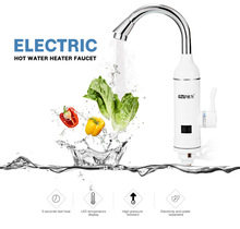 GZU Electric Hot Water Heater Faucet Kitchen Bathroom Fast Heating Dispenser Tap LED Temperature Display Instant Water Heater