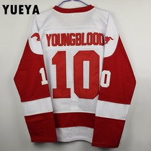"YUEYA ""Youngblood"" Movie Jerseys #10 Rob Lowe Mustangs Ice Hockey Jersey Mens Cheap White S-3XL"