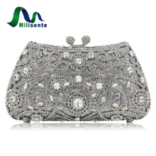 Milisente Women Evening Bags Ladies Clutches Purse Silver Gold Sale Price Crystal Wedding Party Bridal Bag(China)