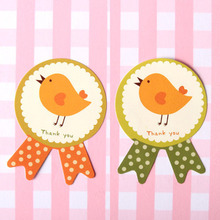 orange/green Badge Little Bird gift seal label stickers for Handmade Product Party Favor Gift Bag Candy Box Decor