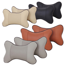 1 Pc Faux Leather Hole-digging Car Headrest Supplies Neck Safety Pillow For Auto