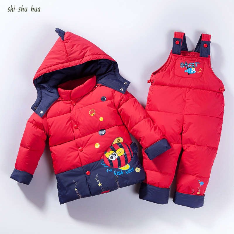 2017 New Winter Childr Clothing Sets Duck Down Jacket Sets Pants-Jacket Hooded Baby Girls Winter Jacket Coat Cartoon Fish patter<br>