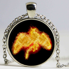 Hight Quality Phoenix Glass Dome Pendant Art Picture Necklace Creature Amulet Fire Phoenix Jewelry