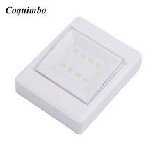 Mini COB Cordless lamp Switch LED Wall Lights Night Light On/Off Battery Operated for Hallway Kitchen Cabinet Emergency Light