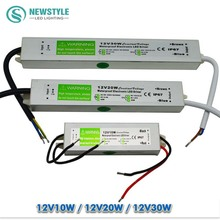 Led driver waterproof IP67 AC/DC 220V to 12V Power Supply lightingTransformer Switch Aluminum 10W 20W 30W for led strip Lights(China)