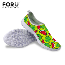 FORUDESIGNS Designer Women Shoes Printing Breathable Ladies Flat Shoes Casual Women Flat Walking Shoes Loafer Plus Size