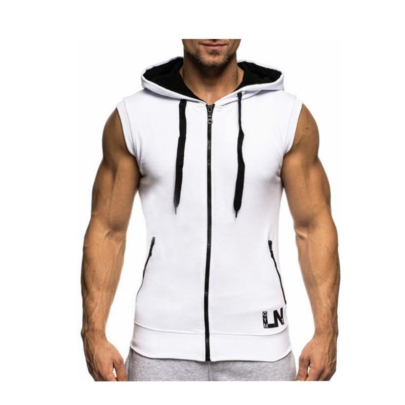 Male Bodybuilding Hoodies Fitness Clothes Hoody Cotton Hoodie Men Sweatshirts Men's Sleeveless Tank Tops Casual Vest 11
