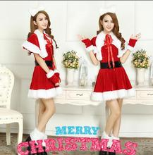 2016 New year's dress Cute Christmas dress costumes Miss Santa Claus Costume Sweet Santa Dress Sexy rabbit girl Costume(China)