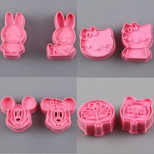 2 Pcs Cartoon Mickey Hello Kitty Bunny Cookie Cutter Fondant Decorating Sugarcraft Mold Kitchen Plunger Biscuit Baking Moulds