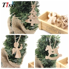 10PCS Christmas Wooden Pendant Snowflakes&Deer&Tree Ornaments Xmas Tree Ornaments Christmas/Wedding Party Decorations Kids Gifts(China)