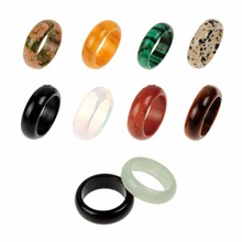 Druzy 8mm Wide Random Colors Natural Black Yellow Crystal Unakite Malachite Green Stone Lucky Ring Jewelry for Male Female