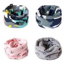 Winter Spring Boy Girls Scarf bufanda Camo/Anchor/Cat Printed Cute Kids Collars Cotton O Ring Neck Scarves(China)