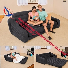 intex 68566 Qeen sleep Sofa Inflatable 2-in-1 Pull-out Sofa+2 person inflatable couch dorm chair +waterproof  flocked sofa bed