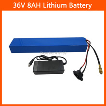 36V 8AH lithium battery 36V electric bicycle battery 36V 500W battery with PVC case 15A BMS 42V charger Free shipping(China)